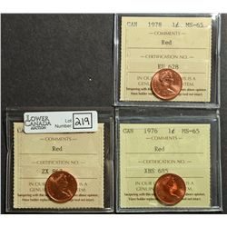 Cent 1967, 1976 & 1978, all ICCS MS-65; Red. Lot of 3 coins.