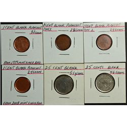 Cent Blank 2,8gr, 2.9 gr, 3,2 gr from 1979 mint bag, 2,4 gr from 2008 sealed roll, 25 Cents Blank 4,
