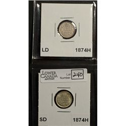 5 Cents 1874H SD AU-55 & 1874H LD VG-8. Lot of 2 coins.