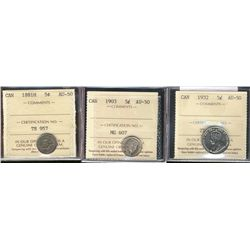 5 Cents 1881H, 1903, 1932, all ICCS AU-50. Lot of 3 coins.