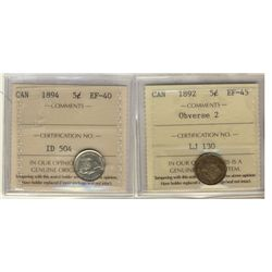 5 Cents 1892 Obverse 2, 1894, both ICCS EF-45. Lot of 2 coins.