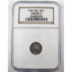 5 Cents 1901, NGC MS-63. White and attractive.