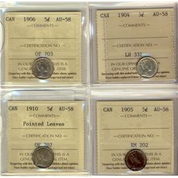 5 Cents 1904, 1905, 1906, 1910 Pointed Leaves, all ICCS AU-58. Lot of 4 coins.