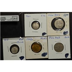 5 Cents 1915 VF-20 Cleaned, 1920 F-12, 1926 VG-10 Near 6, 1926 VG-10 Near 6 & 1942 MS-63 Tombac. Lot