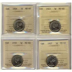5 Cents 1923, 1924, 1927, 1930, all ICCS MS-60. Lot of 4 coins.