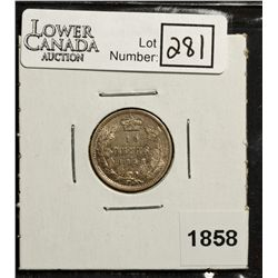 10 Cents 1858 VF-30 with light Die Rotation.