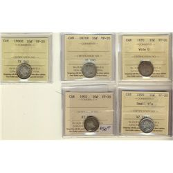 10 Cents 1870 Wide 0, 1871H, 1890H, 1899 Small 9's, 1902, all ICCS VF-20. Lot of 5 coins.