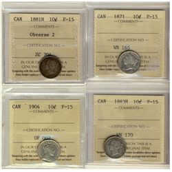 10 Cents 1871, 1881H Obverse , 1883H, 1904, all ICCS F-15. Lot of 4 coins.