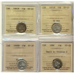 10 Cents 1871H, 1882H, 1886 Small 6 Obverse 5, 1890H, all ICCS VF-20. Lot of 4 coins.