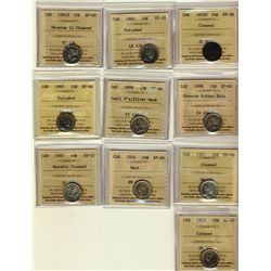 10 Cents 1872H, 1902 both ICCS VF-30, 1881H, 1898, 1899 Small 9's, 1904, 1907, 1914, all ICCS EF-40,