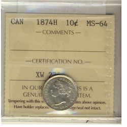 10 Cents 1874H, ICCS MS-64. Crisp and sharp white.