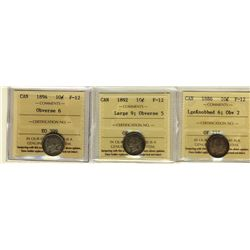 10 Cents 1886 Large Knob Obverse 2, 1892 Large 9 Obverse 5, 1894, all ICCS F-2. Lot of 3 coins.