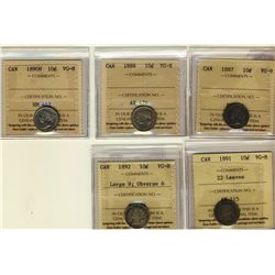 10 Cents 1887, 1888, 1890H, 1891 22 Leaves, 1892 Large 9 Obverse 6, all ICCS VG-8. Lot of 5 coins.