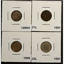 10 Cents 1888 VG-10, 1890H F-12, 1891 21L F-12, 1891 22L VF-20. Lot of 4 coins.