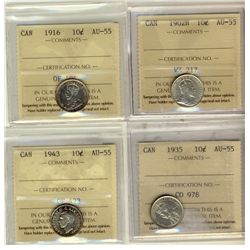 10 Cents 1902H, 1916, 1935, 1943, all ICCS AU-55. Lot of 4 coins.