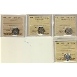 10 Cents 1903, 1903H, 1904, 1932, all ICCS EF-40. Lot of 4 coins.