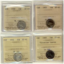 10 Cents 1905, 1908, 1909 Victorian Leaves, 1932, all ICCS EF-40. Lot of 4 coins.