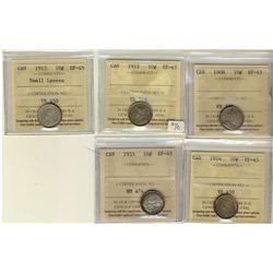 10 Cents 1908, 1912, 1913 Small Leaves, 1914, 1933, all ICCS EF-45. Lot of 5 coins.