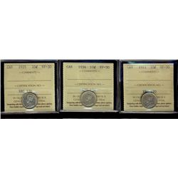 10 Cents 1911, 1934 and 1935, all ICCS VF-30. Lot of 3 coins.
