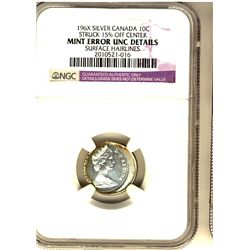 10 Cents 196?, NGC Silver, Struck 15% Off Centre, Surface Hairlines. Should be viewed.
