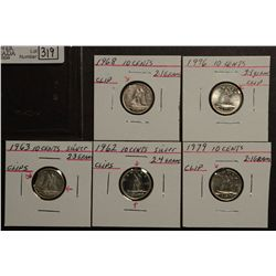 10 Cents 1962 MS-62, 1963 VF-20, 1968 EF-40, 1979 AU-50 and 1996 MS-63 all clipped. Lot of 5 coins.