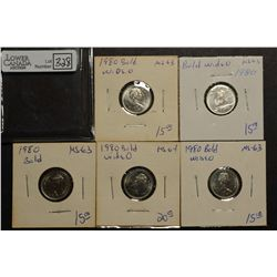 10 Cents 1980 MS-63 Bold (4 coins) & MS-64 Bold. Lot of 5 coins.