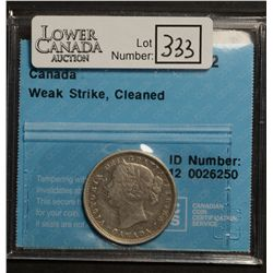 20 Cents 1858, CCCS F-12; Weak Strike, Cleaned.