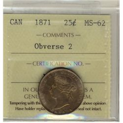 25 Cents 1871, ICCS MS-62; Obverse 2.