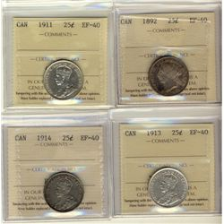 25 Cents 1892, 1911, 1913, 1914, all ICCS EF-40. Lot of 4 coins.