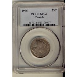 25 Cents 1906, PCGS MS-64. Interesting russet shades.