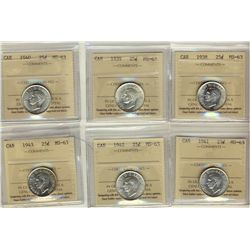 25 Cents 1938, 1939, 1940, 1941, 1942, 1943, all ICCS MS-63. Lot of 6 coins.