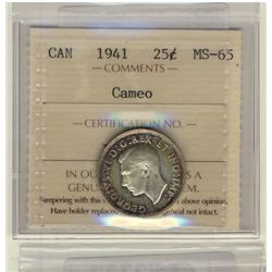 25 Cents 1941, ICCS MS-65; Cameo.