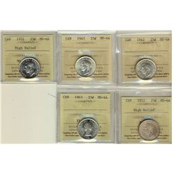 25 Cents 1942, 1943, 1951 High Relief, 1952 High Relief, 1963, all ICCS MS-64. Lot of 5 coins.