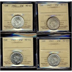 25 Cents 1942 (2) and 1943 (2), all ICCS MS-63. Lot of 4 coins.