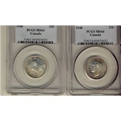 25 Cents 1948, PCGS MS-64. Lot of 2 coins.