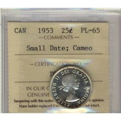 25 Cents 1953, ICCS PL-65; Small Date, Cameo.