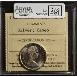 25 Cents 1968, ICCS MS-65; Silver, Cameo.