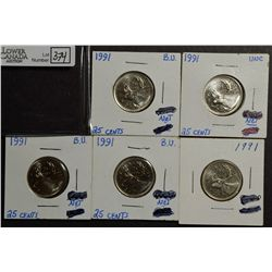 25 Cents 1991 BU lot of 5 coins.