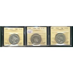 50 Cents 1871, 1906, 1948, all ICCS F-15. Lot of 3 coins.