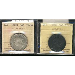 50 Cents 1872H, 1903H, both ICCS VF-20. Lot of 2 coins.