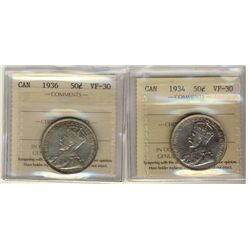 50 Cents 1934, 1936, both ICCS VF-30. Lot of 2 coins.