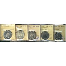 50 Cents1945, 1955, 1967, 1982 Small Beads Type 2, 2002P Ascension, all ICCS MS-64. Lot of 5 coins.