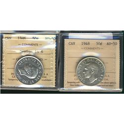 50 Cents 1946 Design in 6, 1948, both ICCS AU-50. Lot of 2 coins.