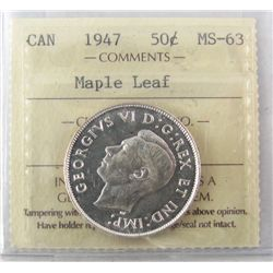 50 Cents 1947, ICCS MS-63; Maple Leaf.