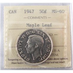 50 Cents 1947, ICCS MS-60; Maple Leaf.