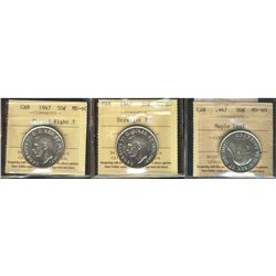 50 Cents 1947 Curved Right 7, 1947 Straight 7, 1947 Maple Leaf, all ICCS MS-60. Lot of 3 coins.