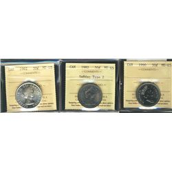 50 Cents 1962, 1982 Small Beads Type 2, 1990, all ICCS MS-65. Lot of 3 coins.
