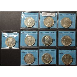 Lot of 10 Silver Dollars all CCCS Certified, read.
