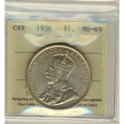 1 Dollar 1936, ICCS MS-65. Full white and lustrous.