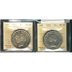 1 Dollar 1951 Arnprior, 1955 Arnprior, both ICCS MS-60. Lot of 2 coins.
